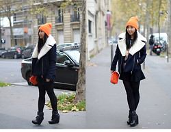 Yuyu Fashionbook - &Other Stories Jacket, Zara Skirt - Orange little beanie