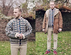 Joe Weightman - Vintage Cardigan, Cheap Monday Acid Wash Jeans, Nike Air Max Trainers, Ragged Priest Shearling Overcoat - Your Arm Reminds Me of a Kebab