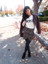 Olivia Yuen - H&M Jacket, Piperlime Sweater, Zara Skirt, H&M Tights, Steve Madden Shoes - Plaid to Be Home