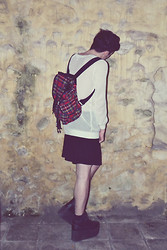 Gwendal P. - Thrifted Transparent Weater, Tartan Bagpack, H&M Black Skirt, Yru Qozmo Hi Platform Shoes - Huntress