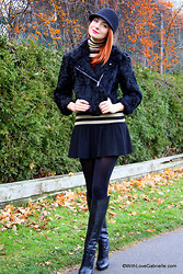 Marta Tryshak - H&M Wool Hat, Cut25 Bomber Jacket, Club Monaco Turtleneck, Bcbg Ruffle Skirt, Gucci Knee High - The Color Theory