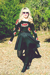 Whitney Paige - Urban Outfitters Cat Eye Shades, Target Pop Sweater, Target Black Skirt, Target Black Tights, Target Black Combat Boots - POP!