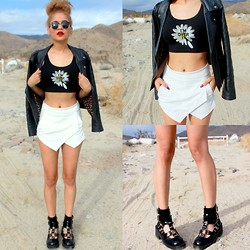 Jasmine White - Jawbreaking Over It Crop Tank, Romwe Skort, Jeffrey Campbell Black Lindor Boots, Black Leather Jacket - I'M OVER IT