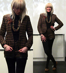 Roxanne Rokii - Lavish Alice Brown Wool Houndstooth Suit With Leather Trim Rrp £109   Rokii £79 - 21-11-13 Lavish Alice Brown Houndstooth Wool & Leather Suit