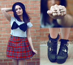 Rachael Dobbins ♡ - Romwe Bow Crop, Ark Tartan Skirt, Vj Style Spike Ring, Jeffrey Cambell Platform Boots - Wrapped up with a bow