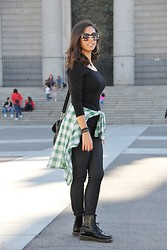 Miriam V -  - Total Black and a Green Tartan Shirt