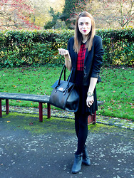 Stephanie G - H&M Blazer, Missguided Skirt, New Look Boots, Dolce & Gabbana Watch - Hint of Tartan!
