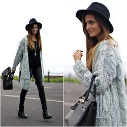 Marianela Yanes - Nowistyle Cardigan, Zara Booties, Zara Hat - Black is the key