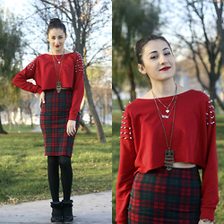 Aigyz Rebelle - Bershka Red, Zara Winter Skirt, Isabel Marant Black - Red all Red