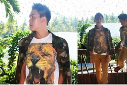 Rainiere Vaughn Phillip Deanon - Tee Culture White T Shirt W/ Leo Print, Vans Canvas Brown Pants - Rude Wrong Impression