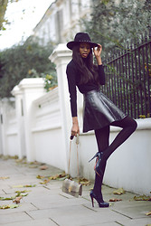 Natasha N - Angel Jackson Bag, Christian Louboutin Heels, Topshop Skirt, Mango Polo Neck, H&M Fedora - Almost All-Black Everything