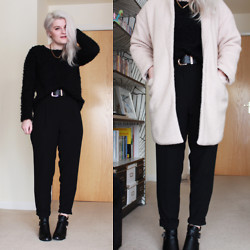 Robyn Mayday - Primark Black Fluffy Jumper, Persun Pink Coat, River Island High Waisted Trousers, Shoe Zone Cut Out Boots - Black, Pink and Cut Outs