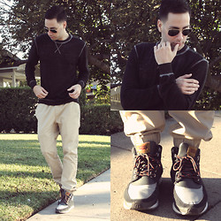 Reinaldo Irizarry - Threads For Thought Sweater, Hot Topic Trousers, Levi's® Sneakers, Ray Ban Sunglasses - CASUAL IN THE FALL