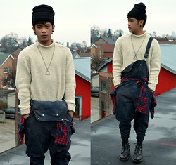 JAN Javier - American Apparel Beanie, Roots Sweater, Topman Necklace, Blackmarket Overalls - Sweater Weather