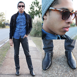 Kenny Jay - Zara Black Jacket, H&M Blue Denim Shirt, Gap Charcoal Denim Jeans, Asos Tortoise Shell Printed Sunglasses, Asos Black Chelsea Boots - Home Sweet Home