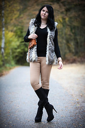 Elly E. - Zara Fake Fur Vest, Timeless Boots, Primark Jeans, Rebecca Minkoff Bag - Fake Fur Love