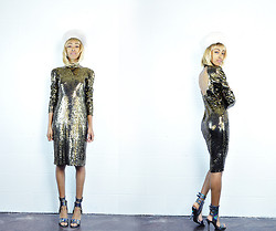 Crystal Wood - She Tiger Vintag Gold High Collared Sequin Dress, Jeffrey Campbell Jc Wrap Around Hells - SHETIGER: Gold Out