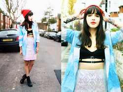 Barbara Malewicz - River Island Red Beanie, Argyle And Oxford Cloudy Jacket, Asos Strapped Bra, Argyle And Oxford Geometric Iridescent Skirt, Urban Outfitters Ranger Boots - Cloudy London suburbs