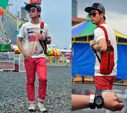Vergil Lloyd Chua - Giordano Usb Bracelet, Cotton On Time Keeper, Volcom Cap, Aldo Sunnies, Cotton On Printed White Shirt, Giordano Full Length Red Pants, Topman Boat Sneaker Shoes, Coach Red Sling Bag - December Warmth