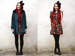 Megan McMinn - Sugarhill Boutique Coat, Ark Clothing Dress, Dr. Martens Dr, Topshop Bow - Deck the halls with boughs of holly.