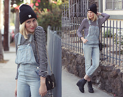 Dani Roxanne - Madewell Beanie, Ann Taylor Striped Tee, Topshop Overalls, Rebecca Minkoff Mini Mac, Jeffrey Campbell Boots - Man Repeller