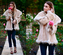 Noor G. - Vintage Jacket, Jimmy Choo Heels - Don't smell the roses