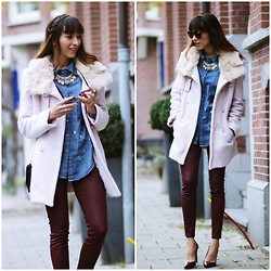 Virgit Canaz - Udobuy Coat, Chic Wish Denim Blouse, Ziba Necklace - Time Flies