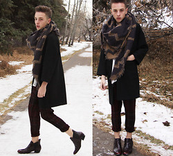 Paul Conrad Schneider - Wilfred Scarf, Zara Black Coat, Zara White Silk Button Up, Zara Tartan Pants, Zara Boots - Rekindle.
