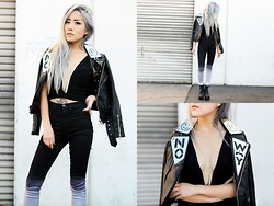 Eugénie Grey - Unif Noway Moto Jacket, Nasty Gal Crop Top, Nasty Gal Ombre Skinny Jeans - No Way