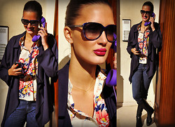 Amina Allam - Marc By Jacobs Sunnies, Romwe Navy Blue Trench, Diesel Jeans, Sergio Rossi Knee High Boots, Choies Flower Print Shirt - Wednesday in blues & flowers