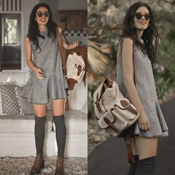 Elle-May Leckenby - Chic Wish Grey Peak Collar Stripe Frill Hem Dress, Scrunchy Socks In Dark Grey, Leighton Small Round Sunglasses - Always where I need to be