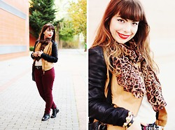 Ester Durães - Romwe Leather Jacket, Aupie Leopard Scarf, Cavalinho Bag, Primark Burgundy Pants, Romwe Boots, Rings And Tings Bracelet - Eye of the tiger