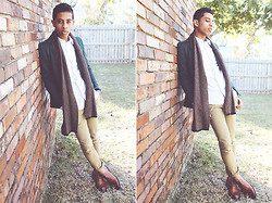 Kenny Jay - Gap Wool Scarf, 3.1 Phillip Lim White Shirt, H&M Khaki Trousers, Brown Brogue Shoes - Cool & Breezy