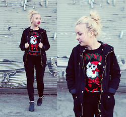 Brittany Leland - Topshop Black Jacket, Target Kitty Christmas Sweater, Black Leggings, Jeffrey Cambell Ankle Boots - Its the happiest time of the year!