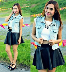 Julie Lozada - Pink Fashion Denim Vest, Pink Fashion Crop Top, Pink Fashion Skater Skirt, Shoes - Fake Leather