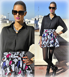 Amina Allam - Romwe Black Chiffon Blouse, Mim Chain Necklace, H&M Printed Skirt, Choies Studded Leather Booties, Marc By Jacobs Sunnies - Do what is right, not what is easy