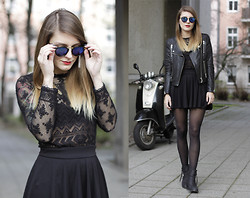 MAGDALENA . - Asos Sunglasses, H&M Leather Jacket, H&M Lace Shirt, H&M Skirt, Acne Studios Pistol Boots - Lace and Leather.