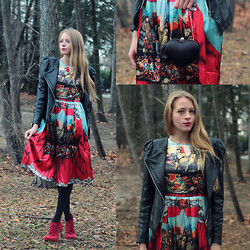 Natalie A - Sheinside Printed Dress, Yvonne Lin Leather Jacket, Red Booties, Heart Clutch - Love is a Battlefield