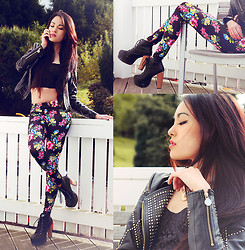 Alessandra Kamaile - Sin Star Clothing Floral Leggings, 80s Vintage From My Mom Bustier, Versace Leather Jacket, Choies Necklace - Don't try to fix whats not broken!