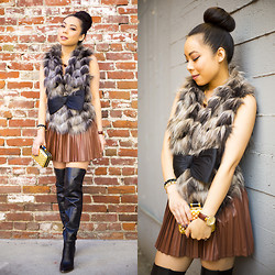 HautePinkPretty . - Guess? Zonia Over The Knee Otk Boots, Guess? Fab Faux Fur Vest - Be The Belle