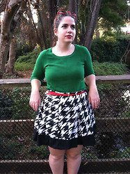 Dani RT - Forever 21 Green Sweater, Houndstooth Skirt, Asos Red Belt, Heart Shaped Sunglasses - Green + Houndstooth