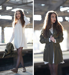 Olympia C - Chic Wish Olive Trech, Cos Gold Lace Ups, Chic Wish Dreamy Cream Dress - Cream and Metallic