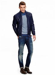 Eric M - Levi's® Slim Straight Jeans, Faded Glory Blue Leather Jacket - Blue Energy