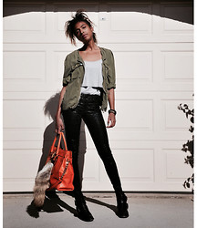 Michelle G. - H&M Jacket, Pea In A Pot Top, H&M Pants, Michael Kors Bag, Michael Kors Fox Tail, Ebay Boots - Khaki/Orange