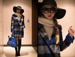 Olga Choi - Oasap Coat, Oasap Hat, Chanel Glasses, Persun Bag, Persun Long Boots, Forever 21 Cross Hair Accessory - And one more plaid coat