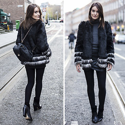 Anouska Proetta Brandon - Marks & Spencer Faux Fur Jacket, Marks & Spencer Polo Neck, Supertrash Boots, Guess? Backpack - Contrast.