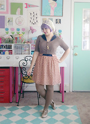 Kate Gabrielle - Old Navy Cardigan, Forever 21 Polka Dot Dress, Sweet And Lovely T Rex Necklace, Asos T Bar Shoes, Old Navy Brown Tights - Polka dots and dinosaurs