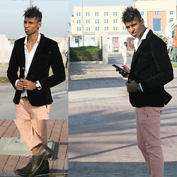 "Liliano Ventos - H&M Corduroy Blazer, Zara White Slimfit Shirt, Raf Simons Slim Belt, Cheap Monday Pink Chino, Calvin Klein Watch, Gucci Italian Browns - ""Cinderella did not GOOGLE prince charming"""