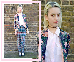 Flower Perdew - East End Vintage Pink Button Up, Sun Thrift Velvet Floral Blazer, T.U.K. White Creepers, Beyond Retro Plaid Pants - Last Day of Term