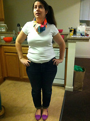 Dani RT - White Shirt, H&M Scarf, Eddie Bauer Boyfriend Jeans, H&M Loafers - White + Pops of Color